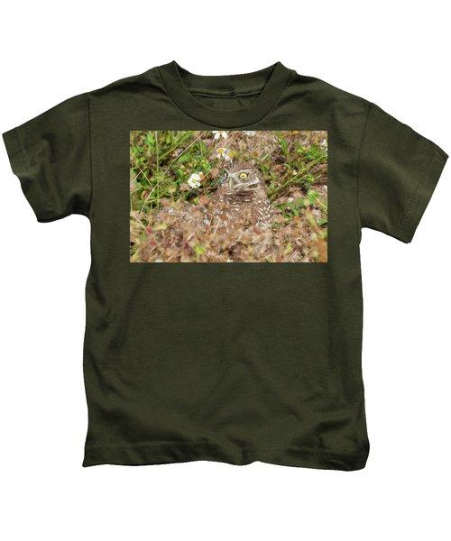 Burrowing Owl With Wide Eye Kids T-Shirt