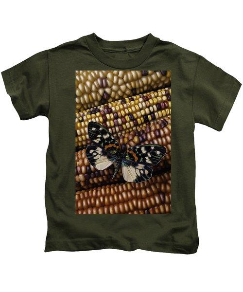 Butterfly On Indian Corn Kids T-Shirt