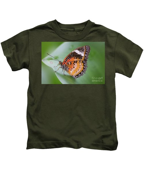 Butterfly On The Edge Of Leaf Kids T-Shirt