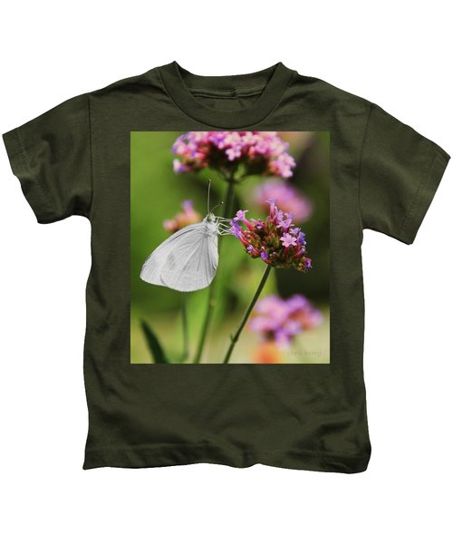 Cabbage White Butterfly On Verbena Kids T-Shirt