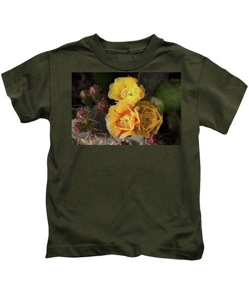 Yellow Cactus Flowers Kids T-Shirt
