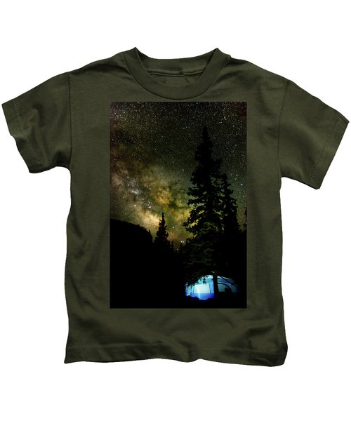 Camping Under The Milky Way Kids T-Shirt