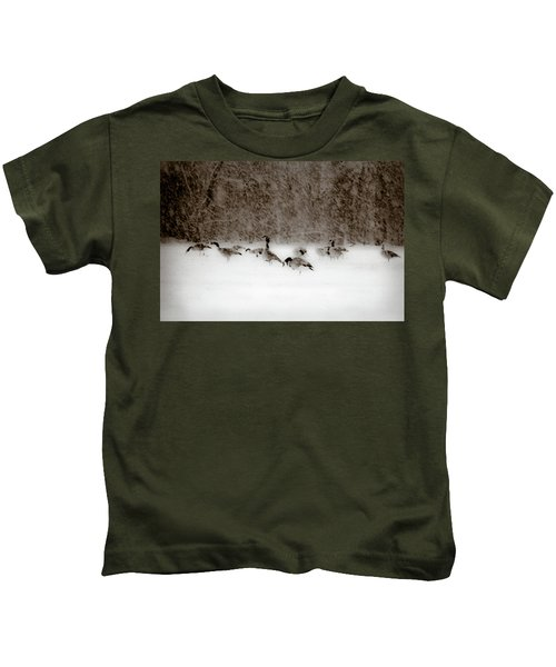 Canada Geese Feeding In Winter Kids T-Shirt