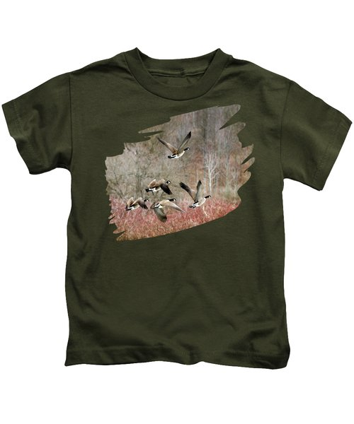 Canada Geese In Flight Kids T-Shirt by Christina Rollo