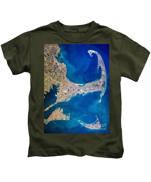 Cape Cod And Islands Spring 1997 View From Satellite Kids T-Shirt