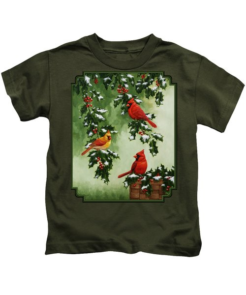 Cardinals And Holly - Version With Snow Kids T-Shirt by Crista Forest