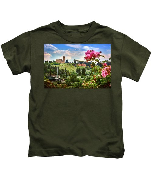 Castle And Roses In Firenze Kids T-Shirt