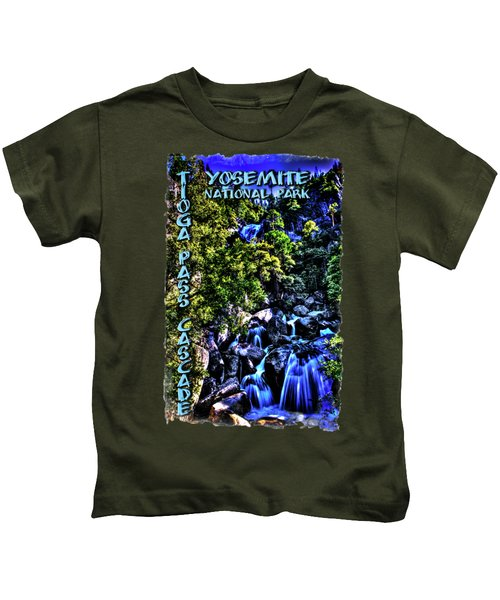 Cathedral Creek Cascade On Tioga Pass Road Kids T-Shirt
