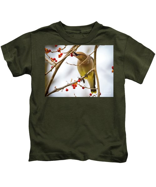Cedar Waxwing Feeding  Kids T-Shirt