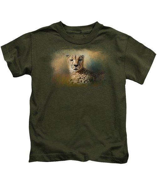 Cheetah Enjoying A Summer Day Kids T-Shirt by Jai Johnson