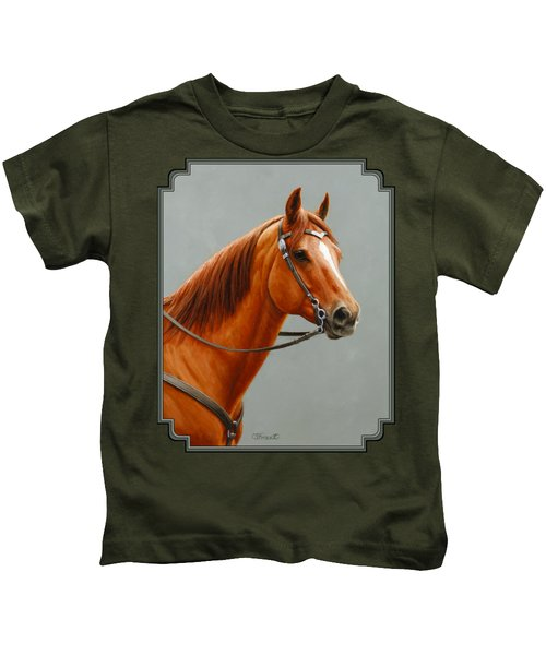 Chestnut Dun Horse Painting Kids T-Shirt by Crista Forest