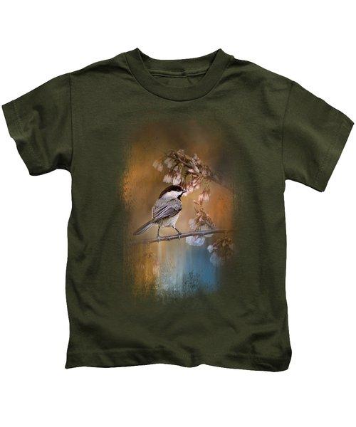 Chickadee In The Garden Kids T-Shirt by Jai Johnson