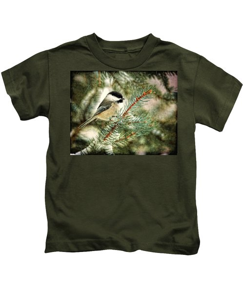 Chickadee On A Snowy Tree Kids T-Shirt