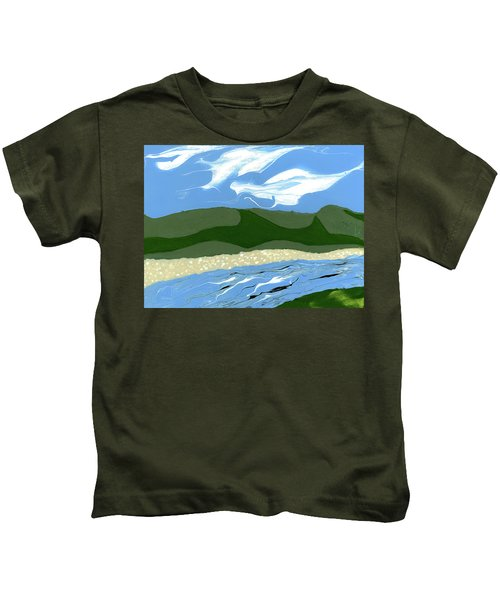 Kids T-Shirt featuring the painting Childhood by Matthew Mezo