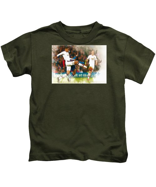 Chris Smalling  In Action  Kids T-Shirt by Don Kuing