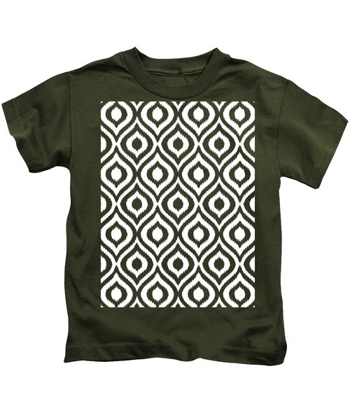 Circle And Oval Ikat In White T05-p0100 Kids T-Shirt