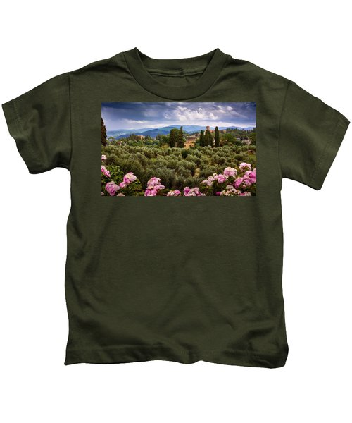 Tuscan Landscape With Roses And Mountains In Florence, Italy Kids T-Shirt
