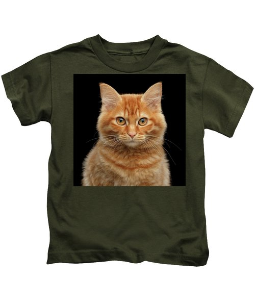 Close-up Portrait Of Ginger Kitty On Black Kids T-Shirt