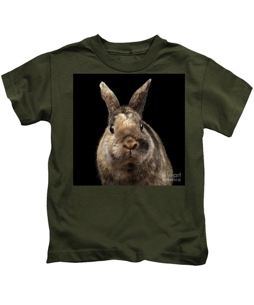 Closeup Funny Little Rabbit, Brown Fur, Isolated On Black Backgr Kids T-Shirt