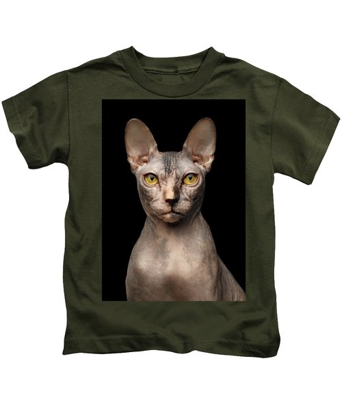 Closeup Portrait Of Grumpy Sphynx Cat, Front View, Black Isolate Kids T-Shirt