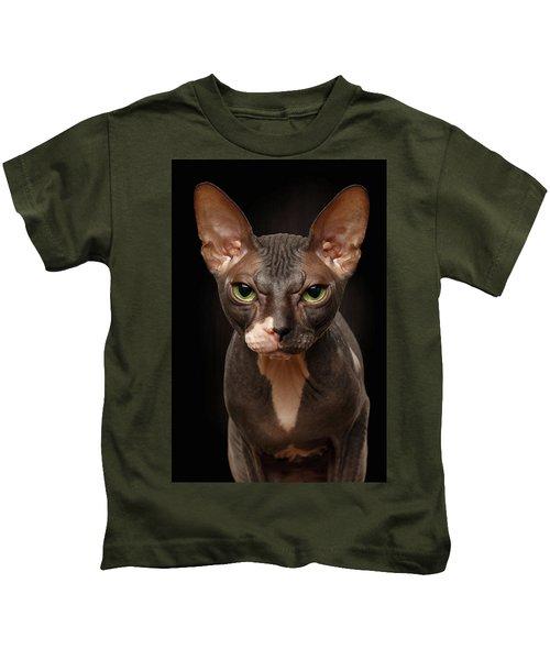 Closeup Portrait Of Grumpy Sphynx Cat Front View On Black  Kids T-Shirt