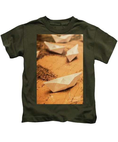 Closeup Toned Image Of Paper Boats On World Map Kids T-Shirt