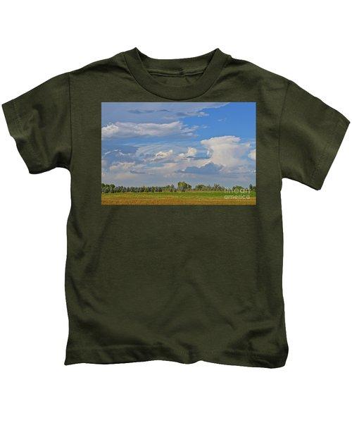 Clouds Aboive The Tree Farm Kids T-Shirt