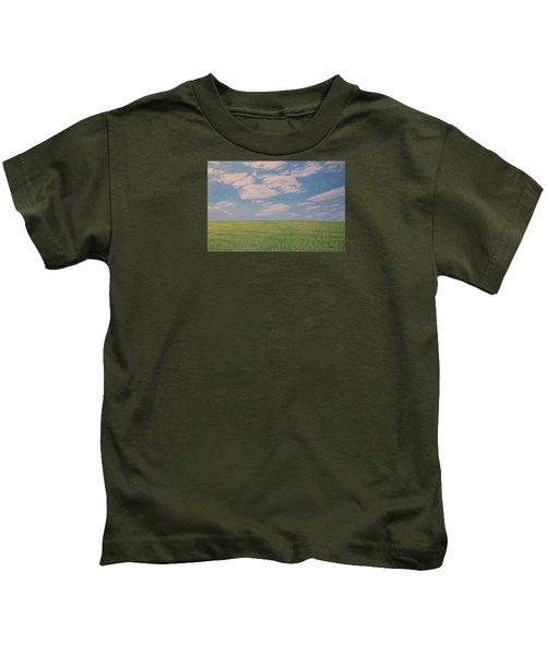Clouds Over Green Field Kids T-Shirt
