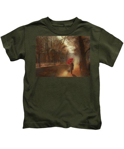 Cold Autumn Morning Painting Kids T-Shirt