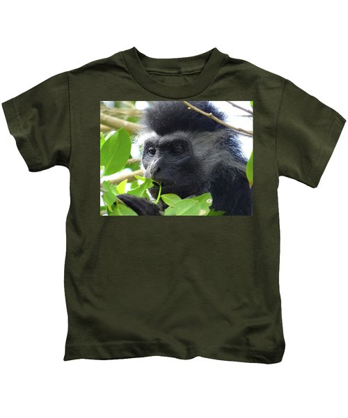 Colobus Monkey Eating Leaves In A Tree Close Up Kids T-Shirt