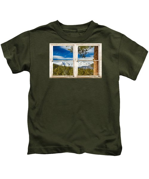Colorado Rocky Mountain Rustic Window View Kids T-Shirt
