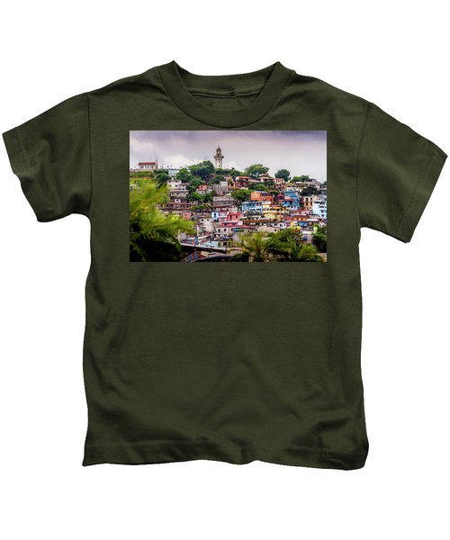 Colorful Houses On The Hill Kids T-Shirt