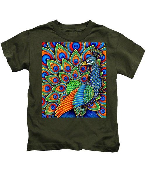 Colorful Paisley Peacock Kids T-Shirt