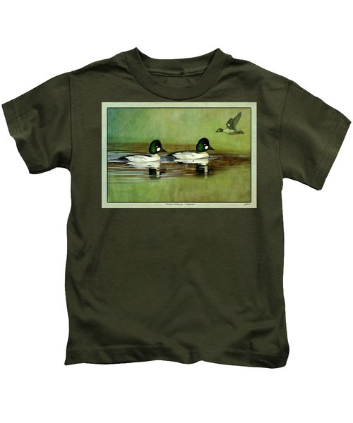 Common Golden-eye Drakes With Flyer Kids T-Shirt