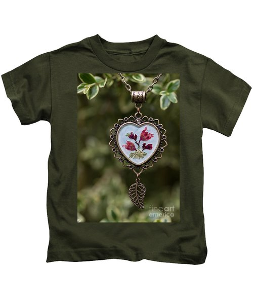 Coral Bell Pressed Flower Pendant Kids T-Shirt