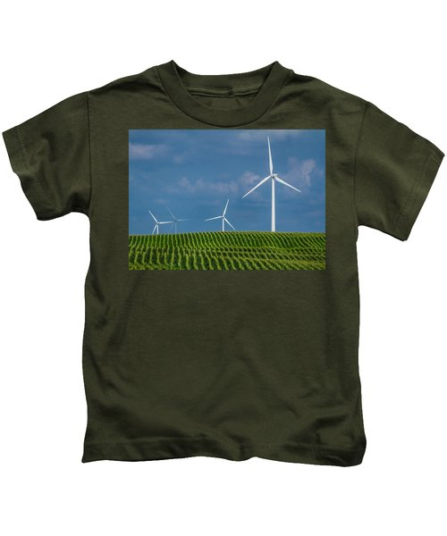 Corn Rows And Windmills Kids T-Shirt