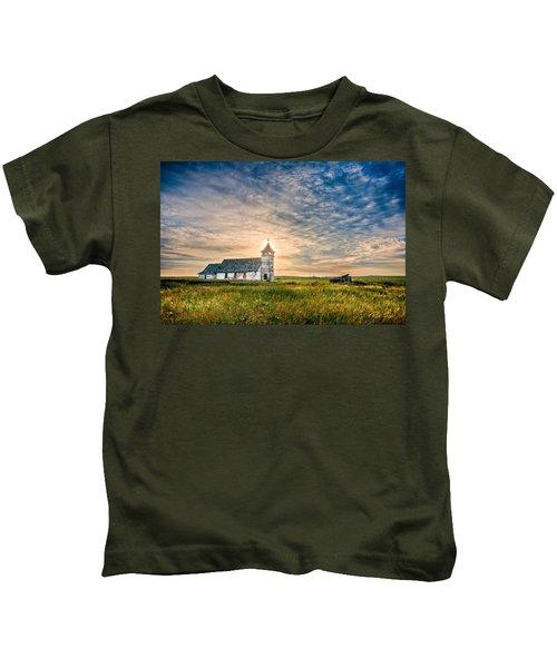 Country Church Sunrise Kids T-Shirt