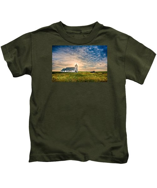 Country Church Sunrise Kids T-Shirt