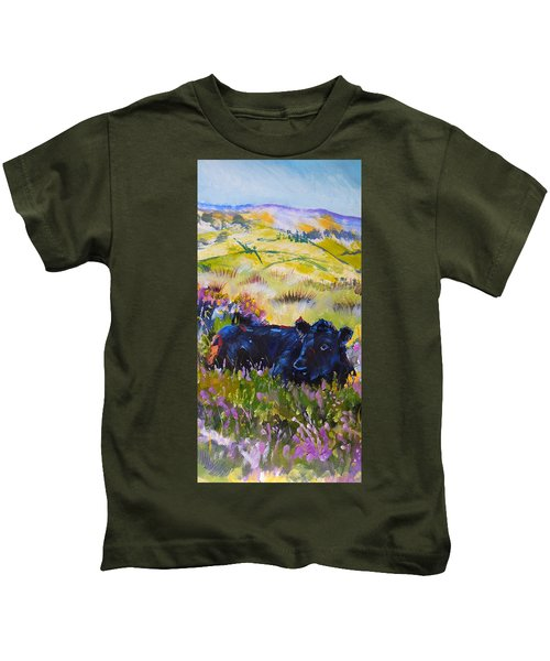 Cow Lying Down Among Plants Kids T-Shirt