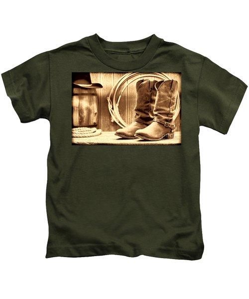 Cowboy Boots On The Deck Kids T-Shirt