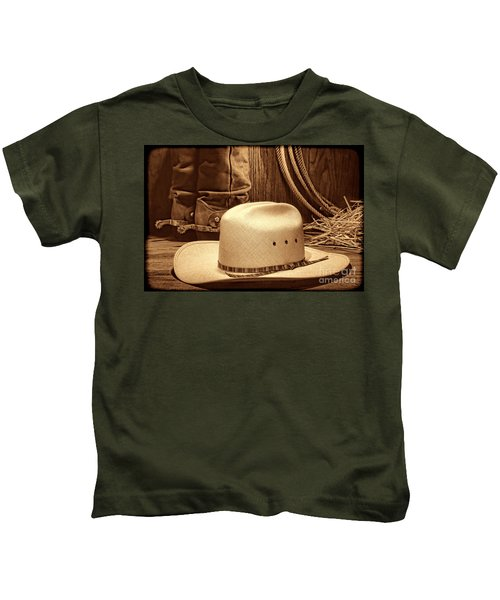 Cowboy Hat With Western Boots Kids T-Shirt
