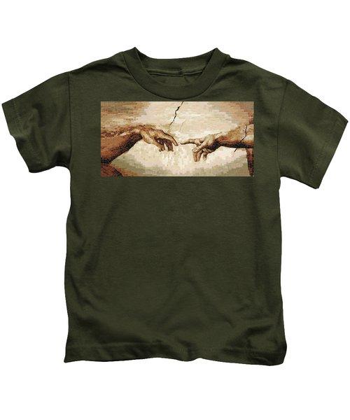 Creation Of Adam - Ceramic Mosaic Wall Artwork Kids T-Shirt