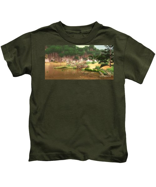 Cretaceous Dinosaur River Kids T-Shirt