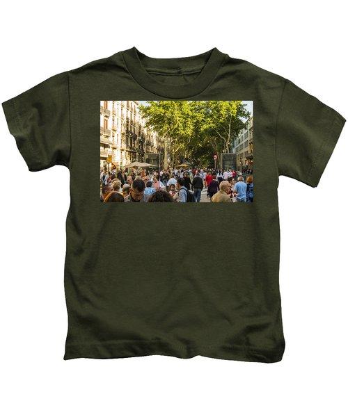 Crowds Along La Rambla - Barcelona Spain Kids T-Shirt