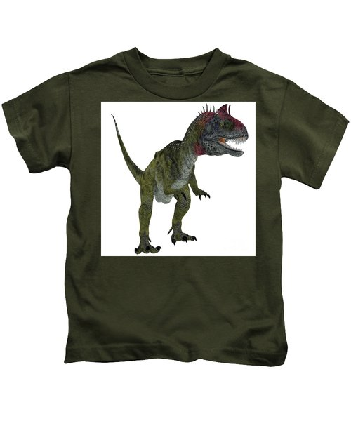 Cryolophosaurus On White Kids T-Shirt