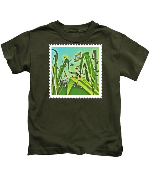 Cute Frog Camouflaged In The Garden Jungle Kids T-Shirt by Elaine Plesser