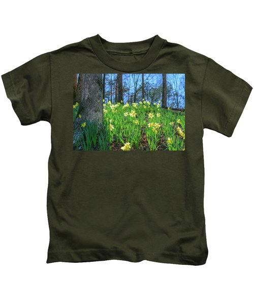 Daffodils On Hillside 2 Kids T-Shirt