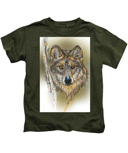 Dark Wolf With Birch Kids T-Shirt