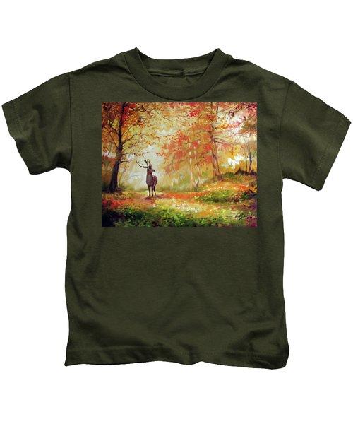 Deer On The Wooden Path Kids T-Shirt