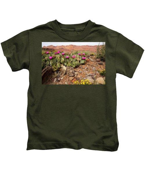 Desert Cactus In Bloom Kids T-Shirt